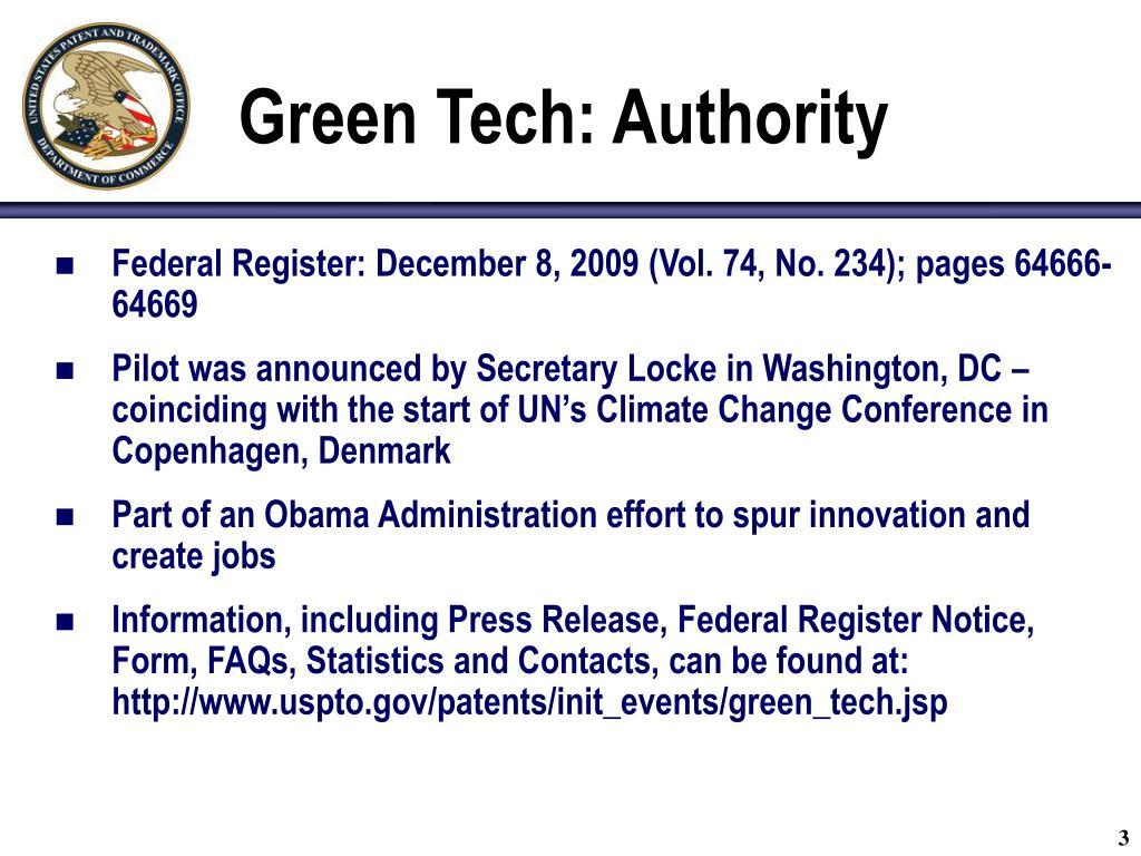 Green Tech: Authority