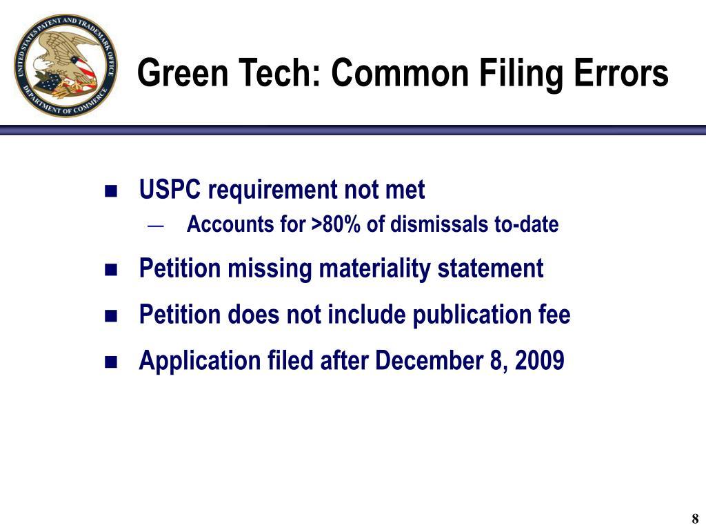 Green Tech: Common Filing Errors