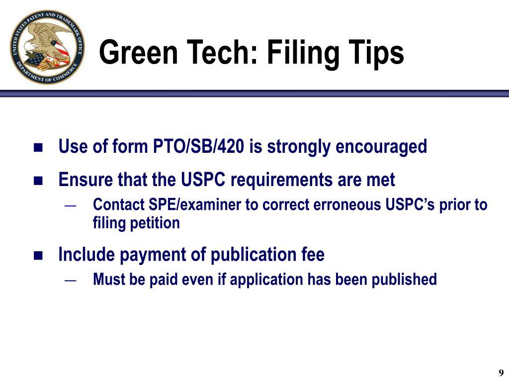 Green Tech: Filing Tips