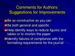 comments for authors suggestions for improvements