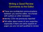 writing a good review comments to the editor