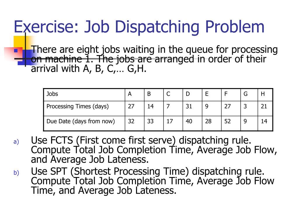 Exercise: Job Dispatching Problem