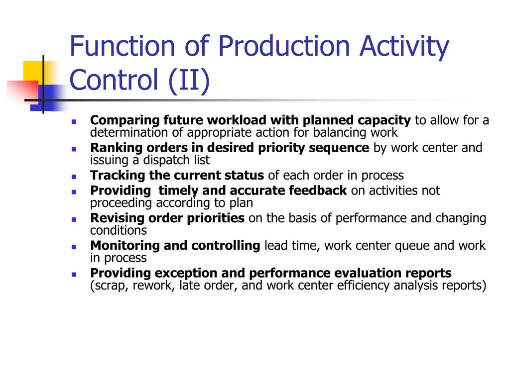 Function of Production Activity Control (II)
