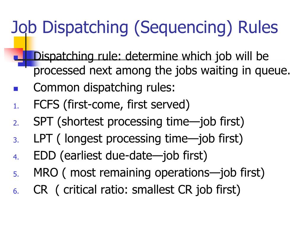 Job Dispatching (Sequencing) Rules