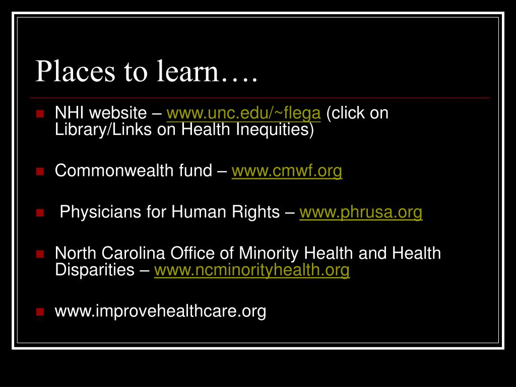 Places to learn….