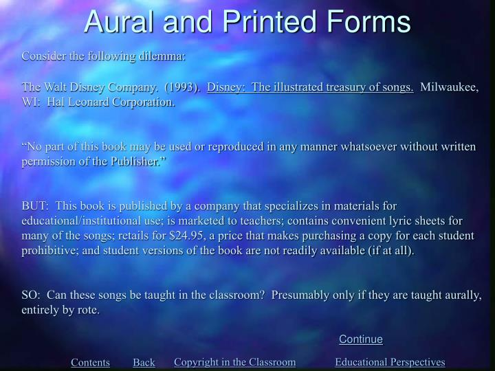 Aural and Printed Forms