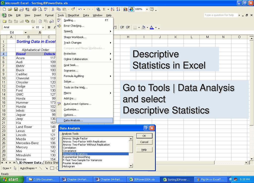 Descriptive Statistics in Excel