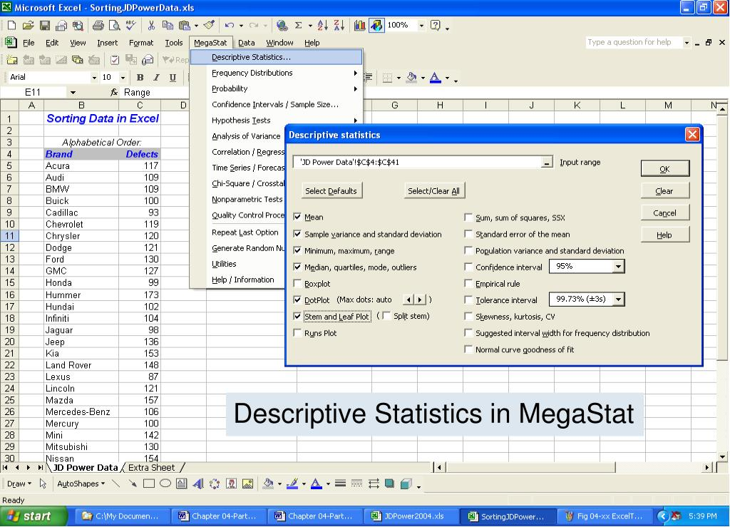 Descriptive Statistics in MegaStat