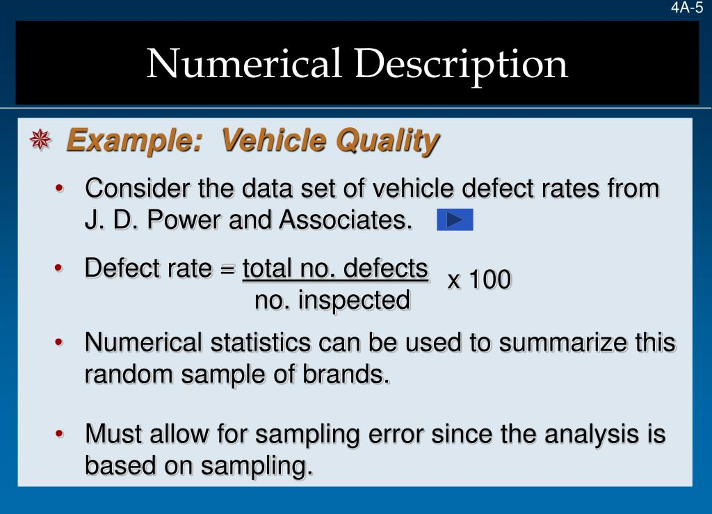 Consider the data set of vehicle defect rates from J. D. Power and Associates.