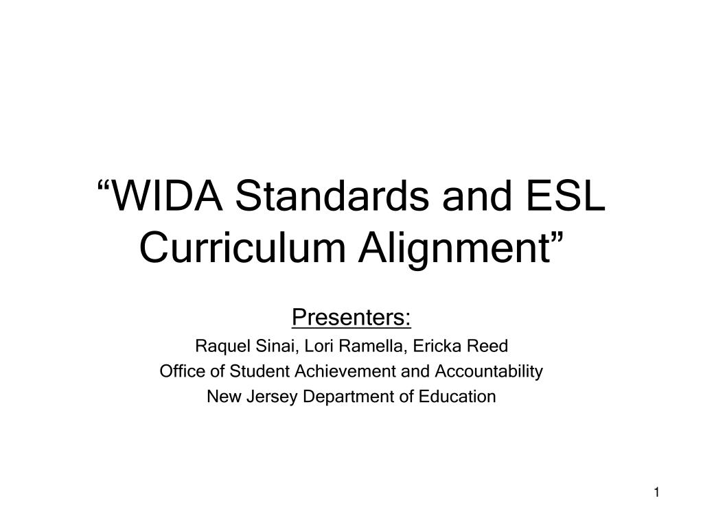 wida standards and esl curriculum alignment l.