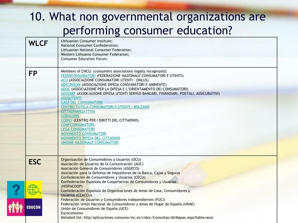 10. What non governmental organizations are performing consumer education?