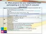 15 what projects has your organization been participating on in the field of consumer education