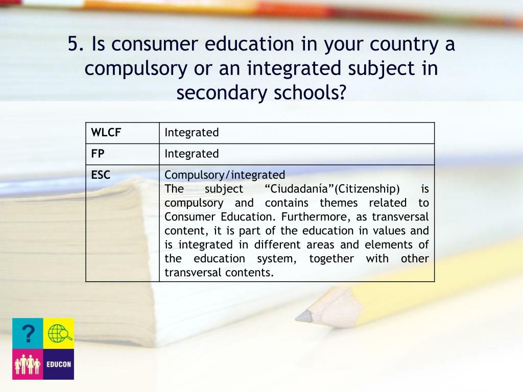 5. Is consumer education in your country a compulsory or an integrated subject in secondary schools?