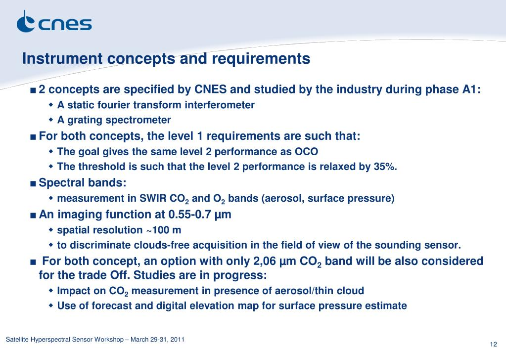 Instrument concepts and requirements