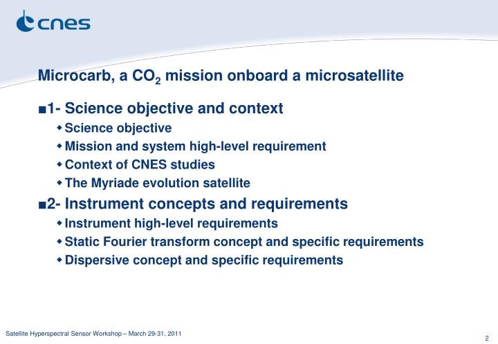 Microcarb a co 2 mission onboard a microsatellite