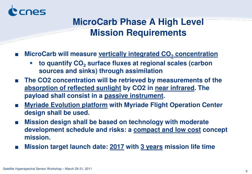 MicroCarb Phase A High Level Mission Requirements