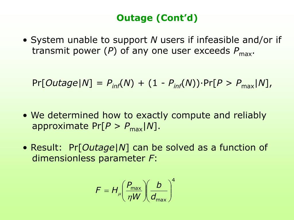 Outage (Cont'd)