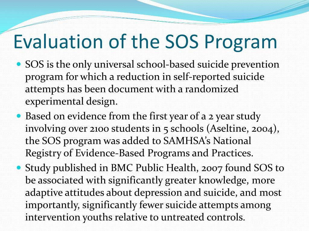 Evaluation of the SOS Program