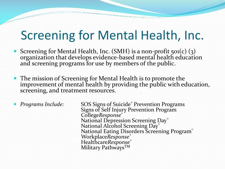 Screening for mental health inc