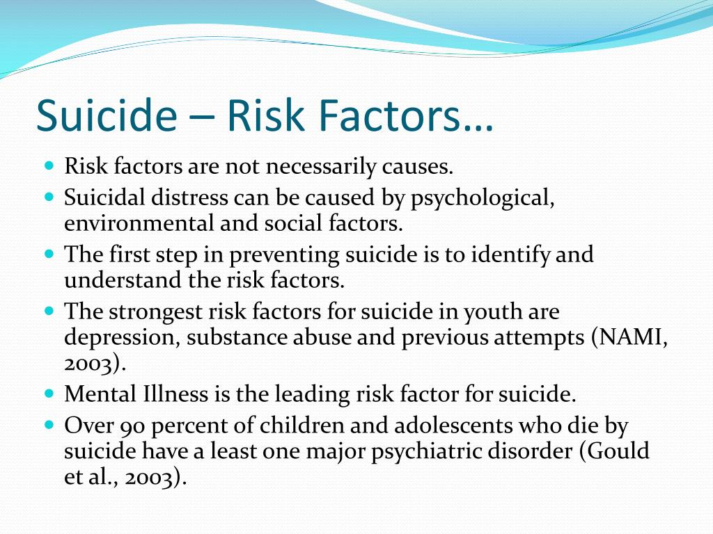 Suicide – Risk Factors…