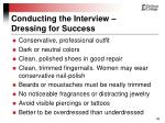 conducting the interview dressing for success
