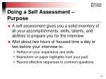 doing a self assessment purpose