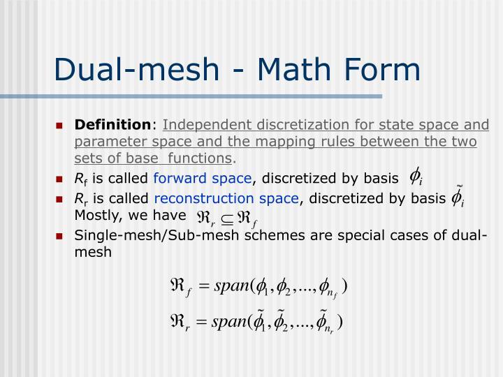 Dual mesh math form