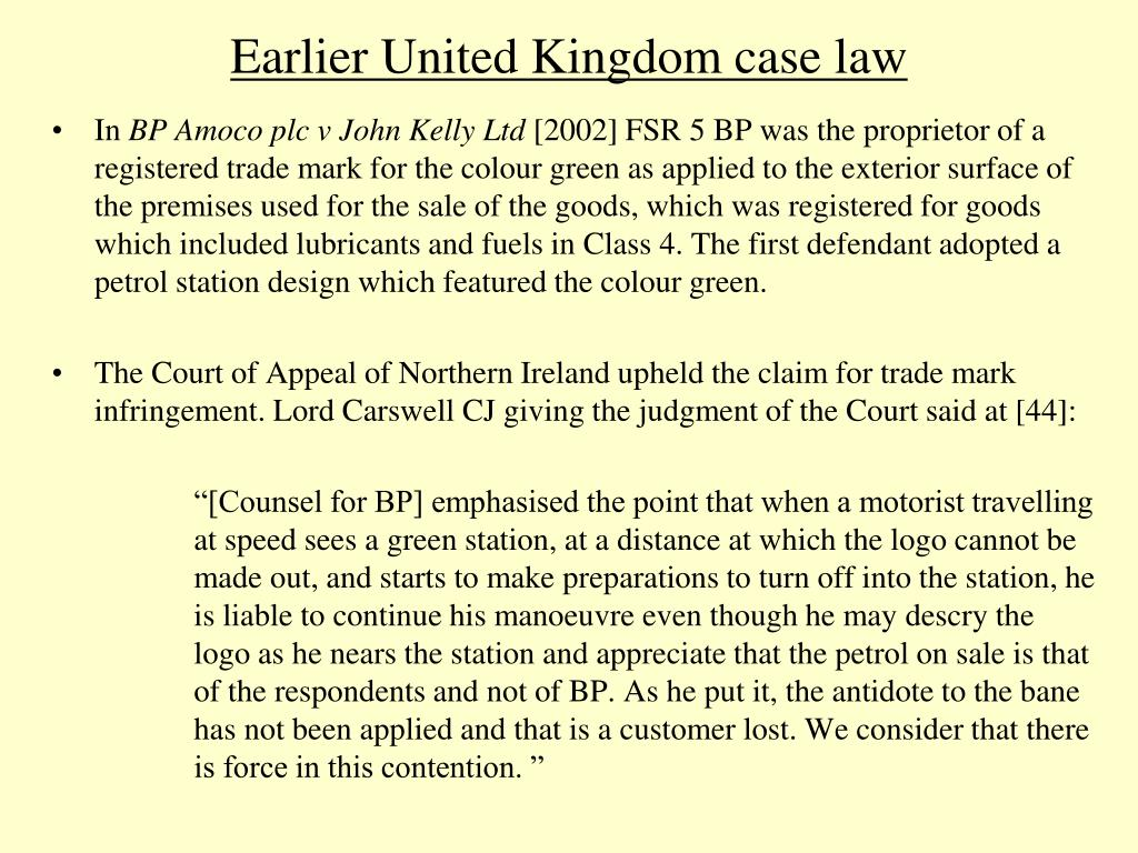 Earlier United Kingdom case law