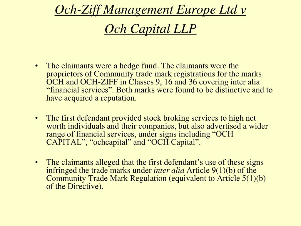Och-Ziff Management Europe Ltd v