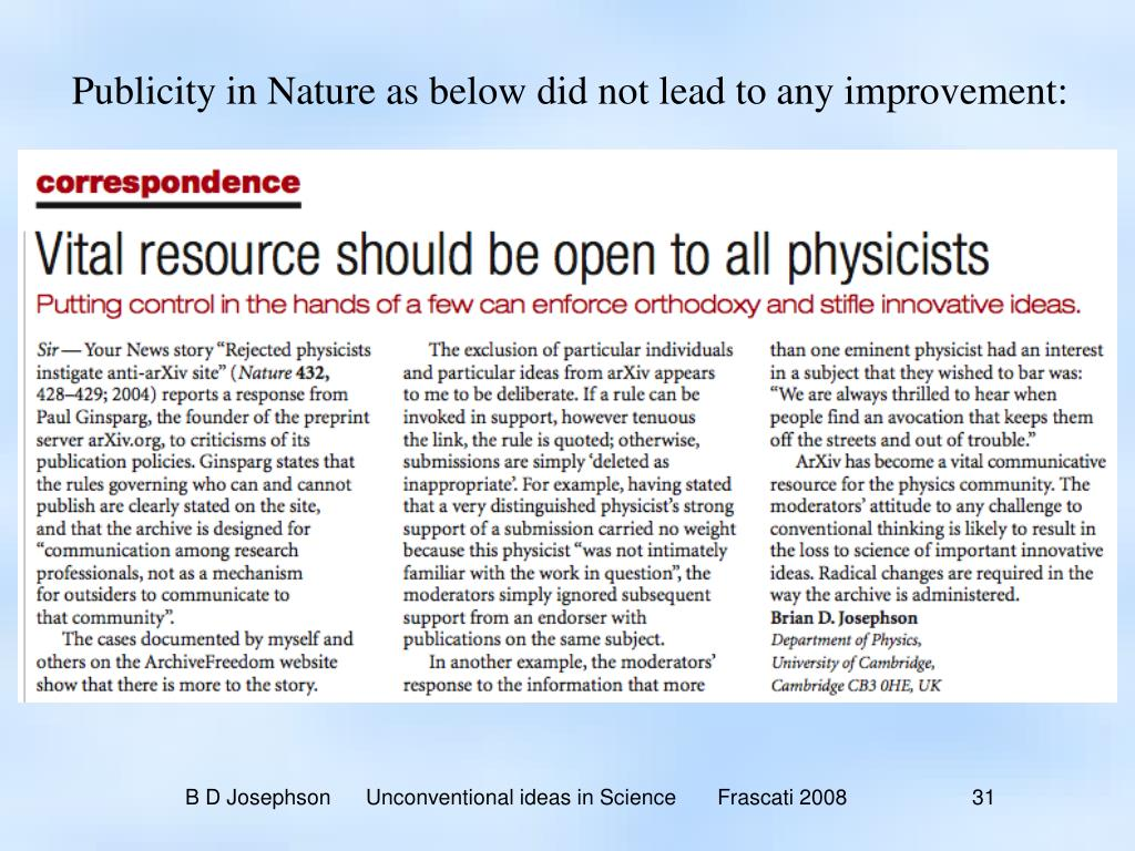 Publicity in Nature as below did not lead to any improvement: