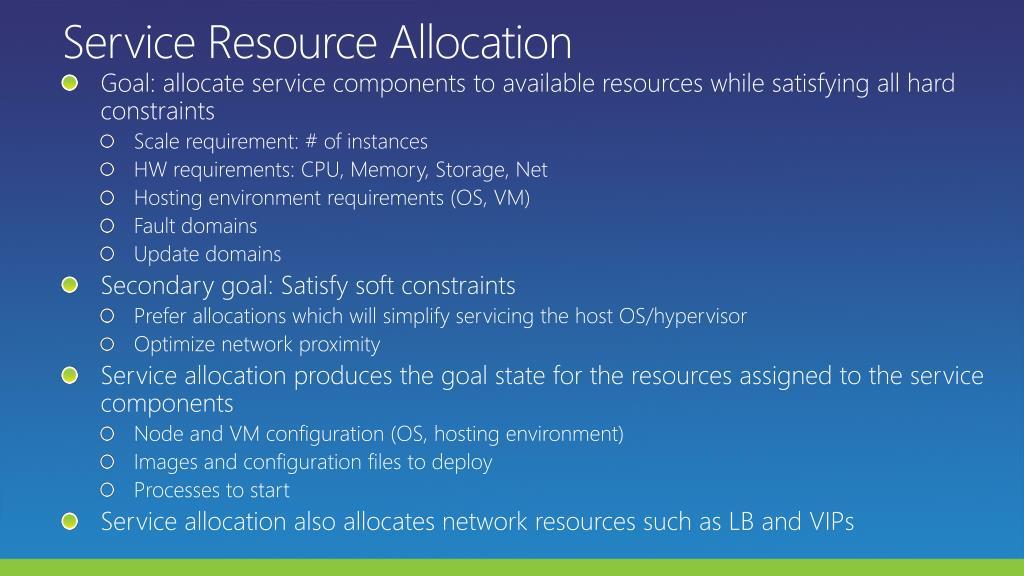 Service Resource Allocation