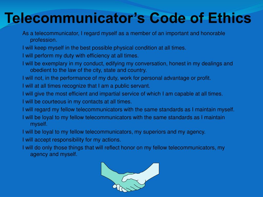 Telecommunicator's Code of Ethics
