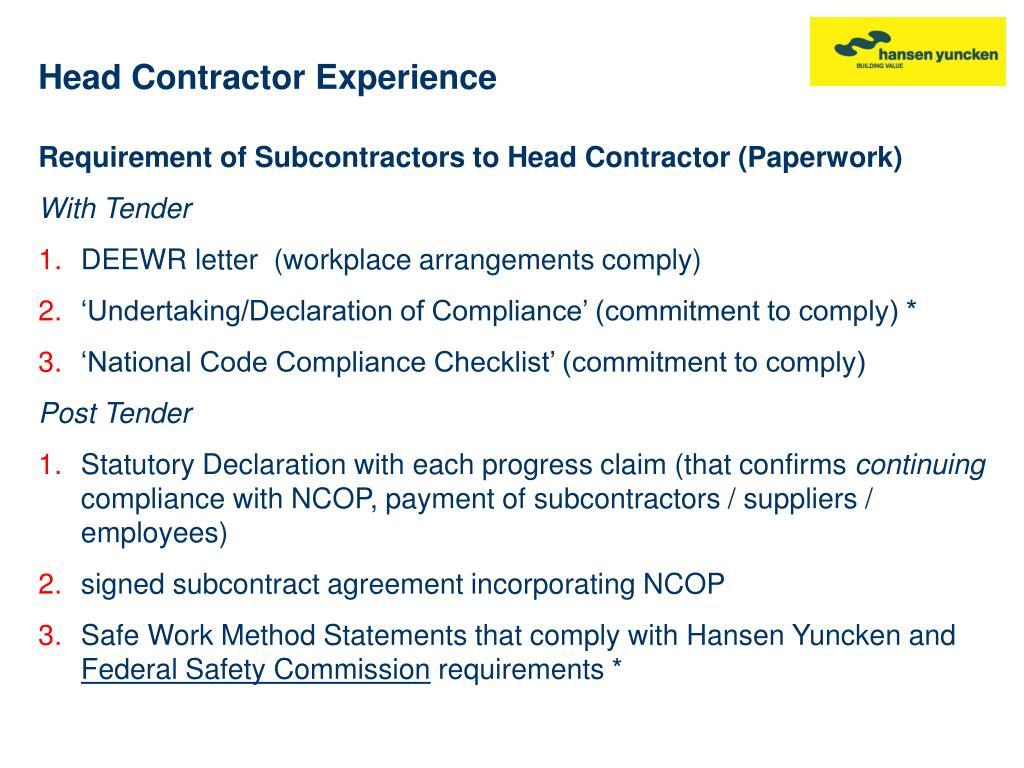 Head Contractor Experience