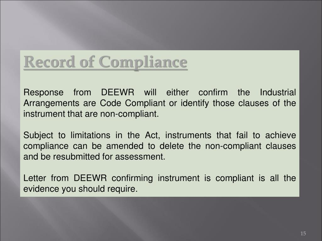 Record of Compliance