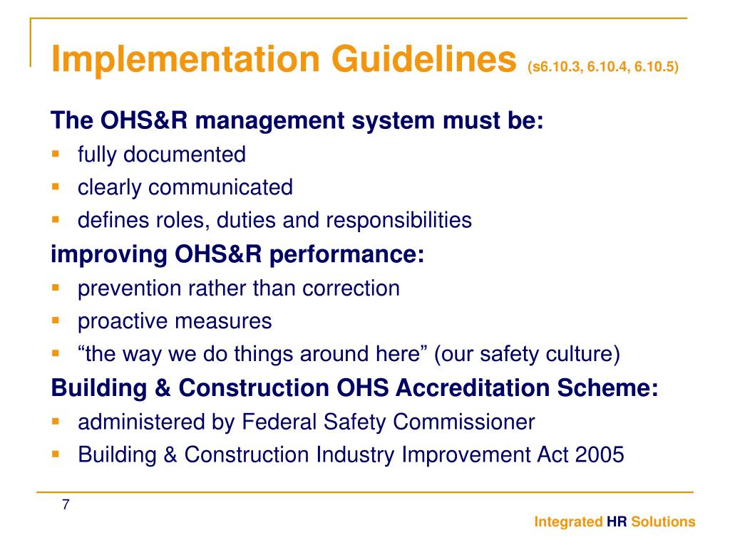 The OHS&R management system must be: