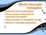 identify meaningful participation