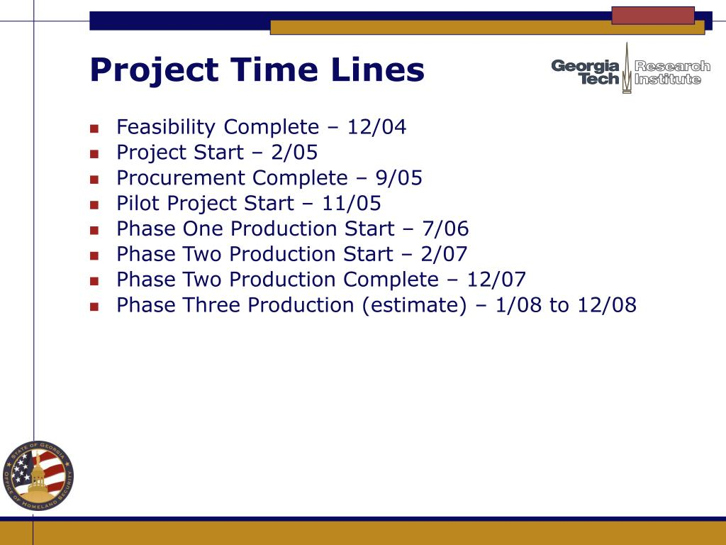 Project Time Lines
