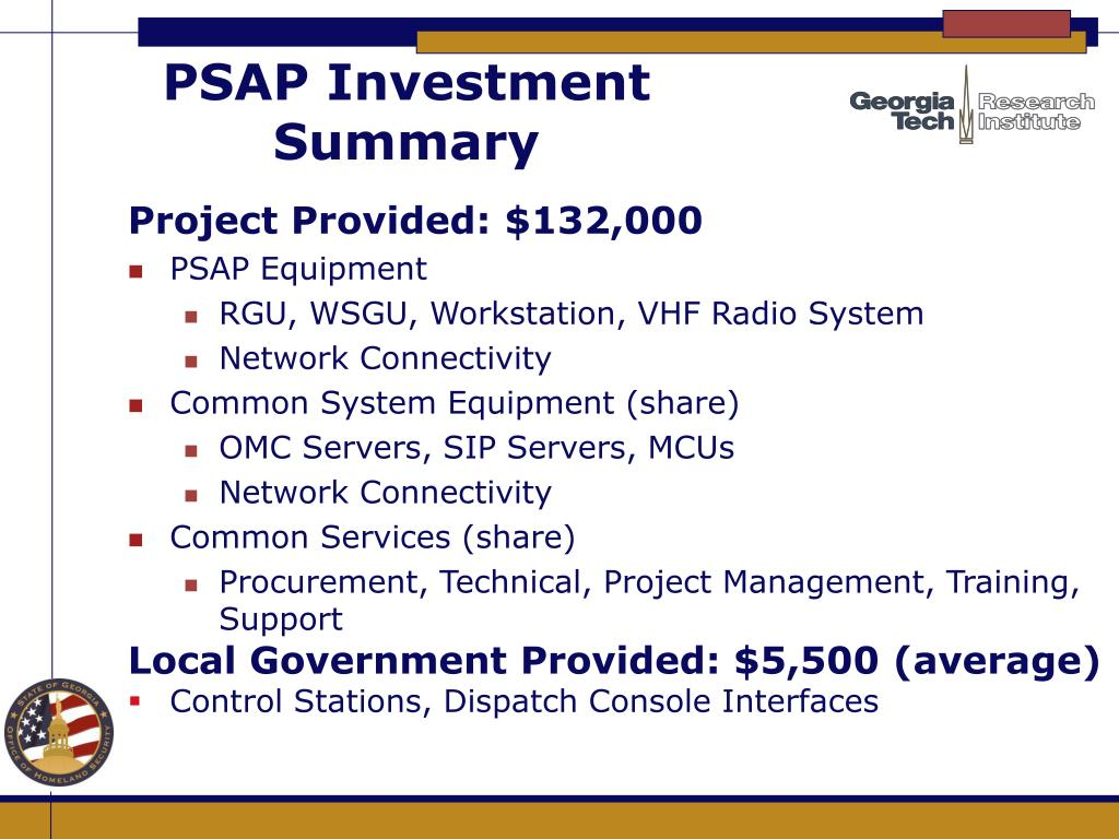 PSAP Investment Summary