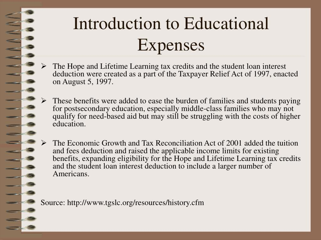 Introduction to Educational Expenses
