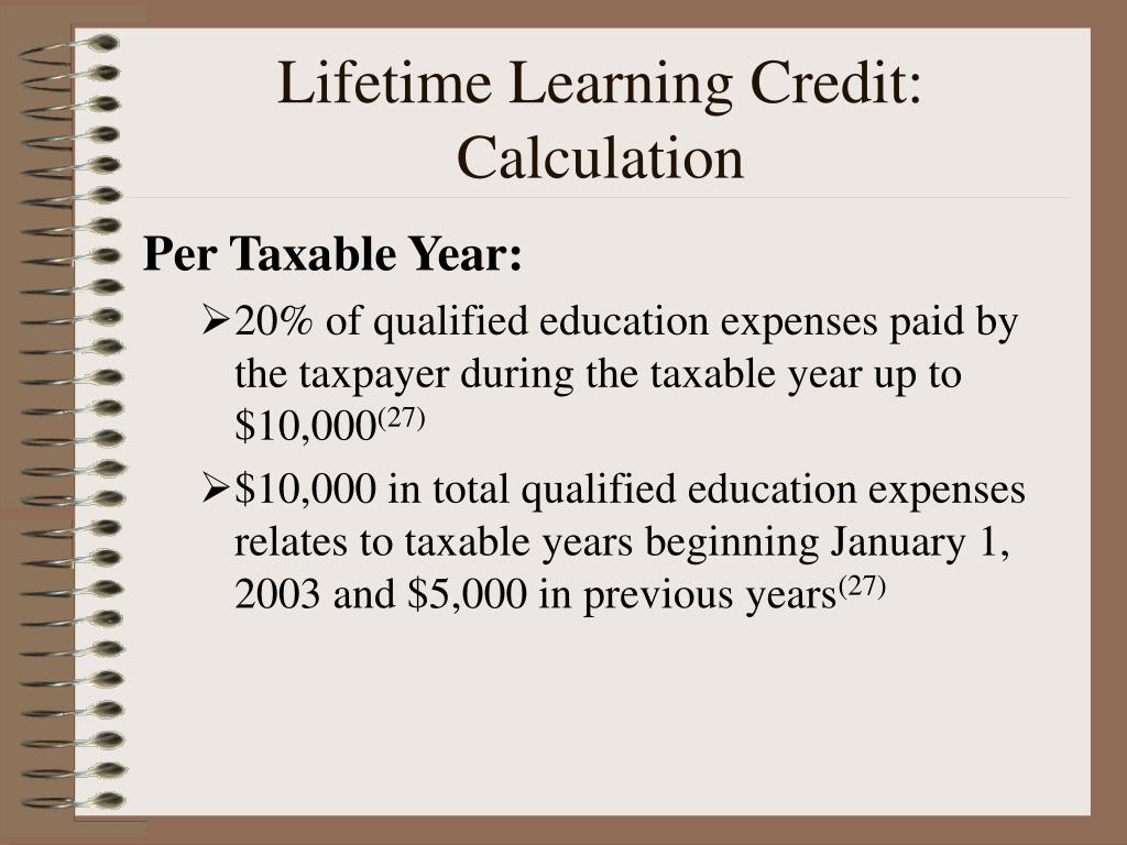 Lifetime Learning Credit: Calculation