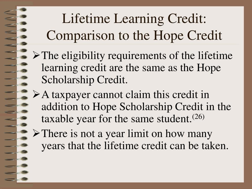 Lifetime Learning Credit: Comparison to the Hope Credit