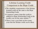 lifetime learning credit comparison to the hope credit