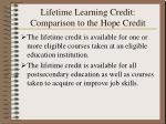lifetime learning credit comparison to the hope credit30