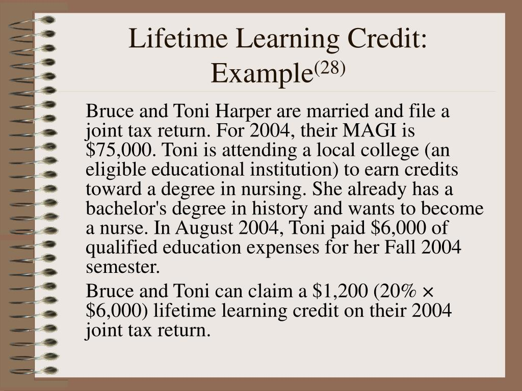 Lifetime Learning Credit: Example