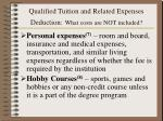 qualified tuition and related expenses deduction what costs are not included