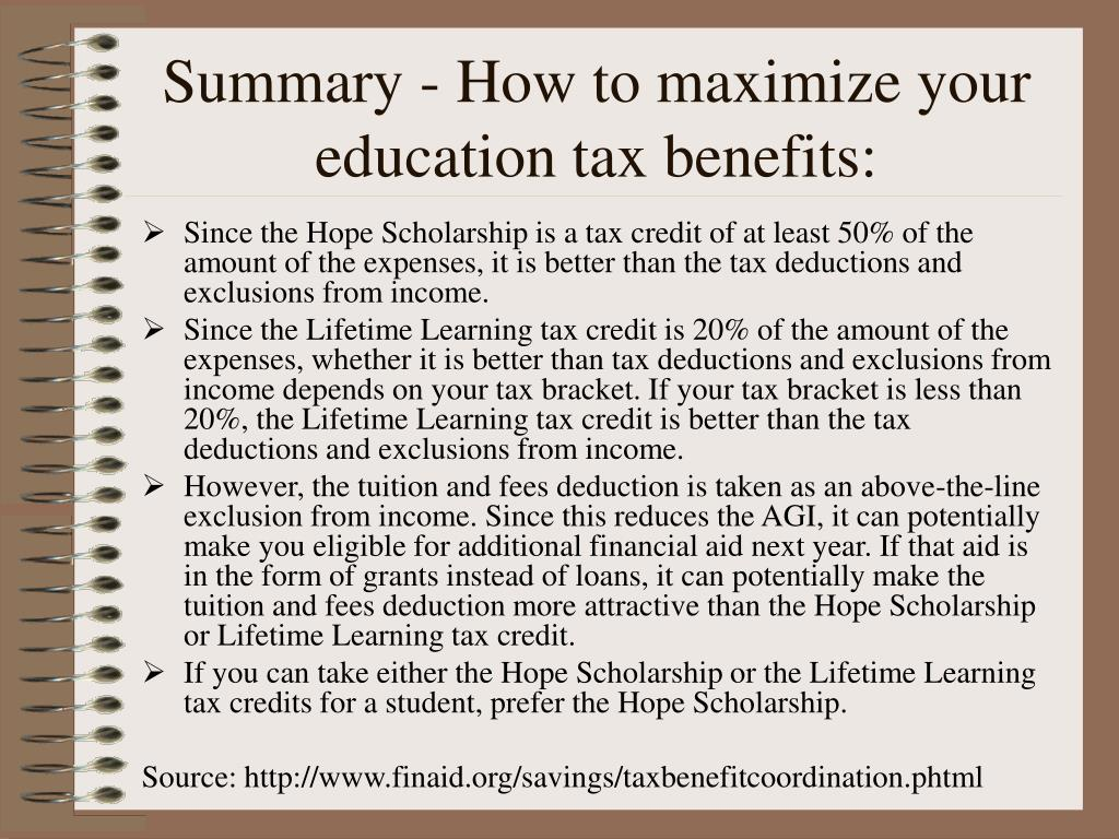 Summary - How to maximize your education tax benefits: