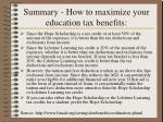 summary how to maximize your education tax benefits