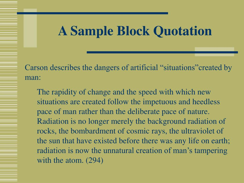 A Sample Block Quotation