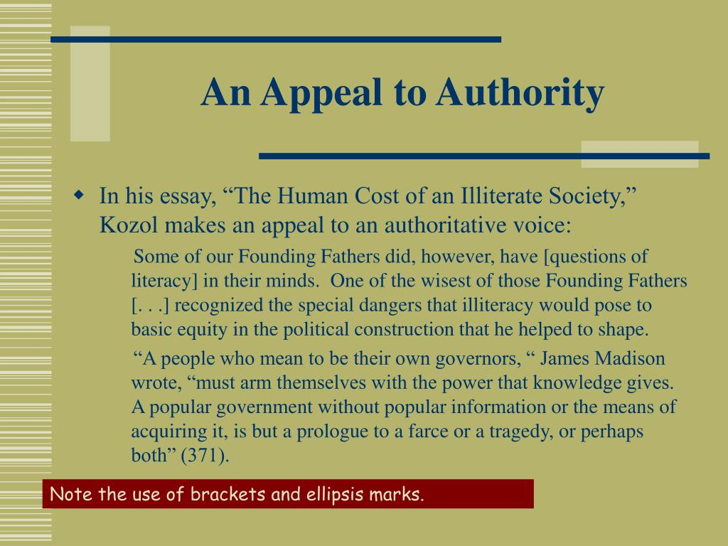 An Appeal to Authority