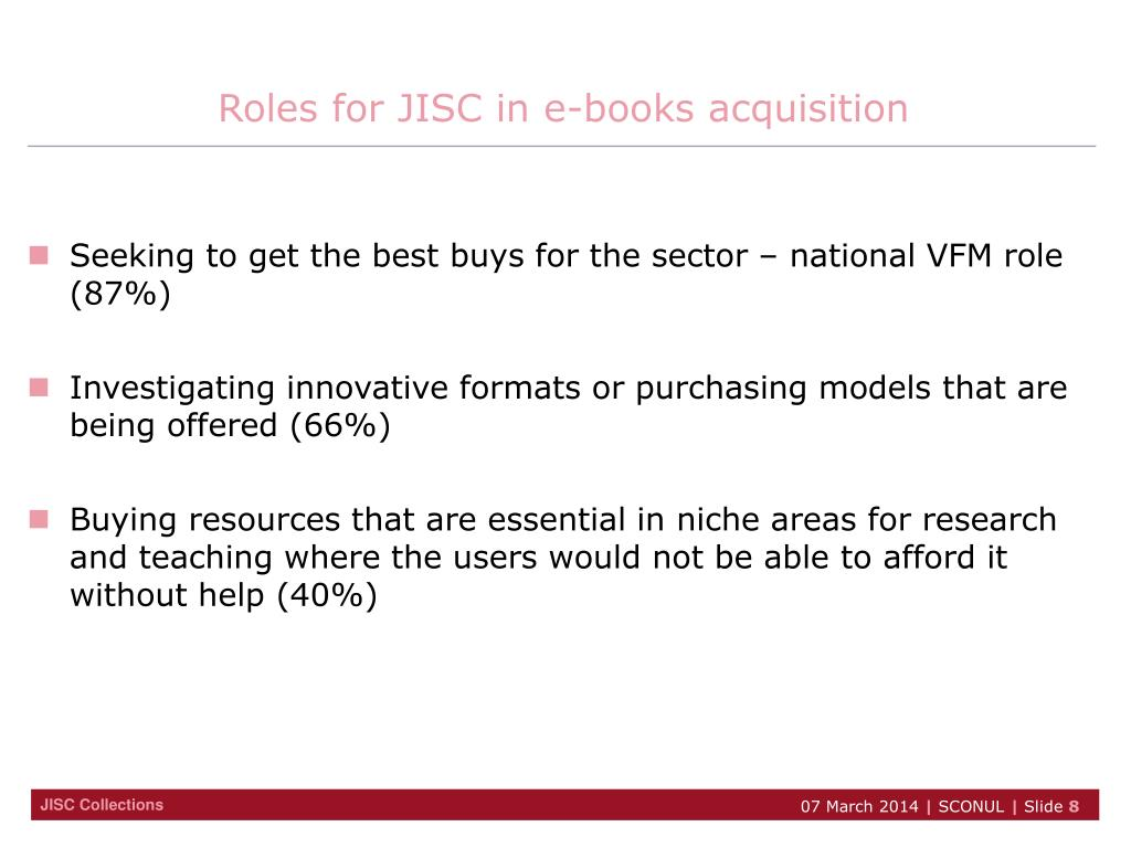 Roles for JISC in e-books acquisition